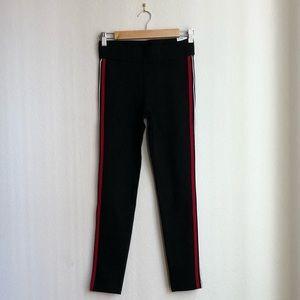 Zara   Black Leggings with Red Side Stripes